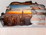 3D Muursticker New York in de avondzon
