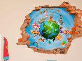 3D Kinder muursticker Wereldbol